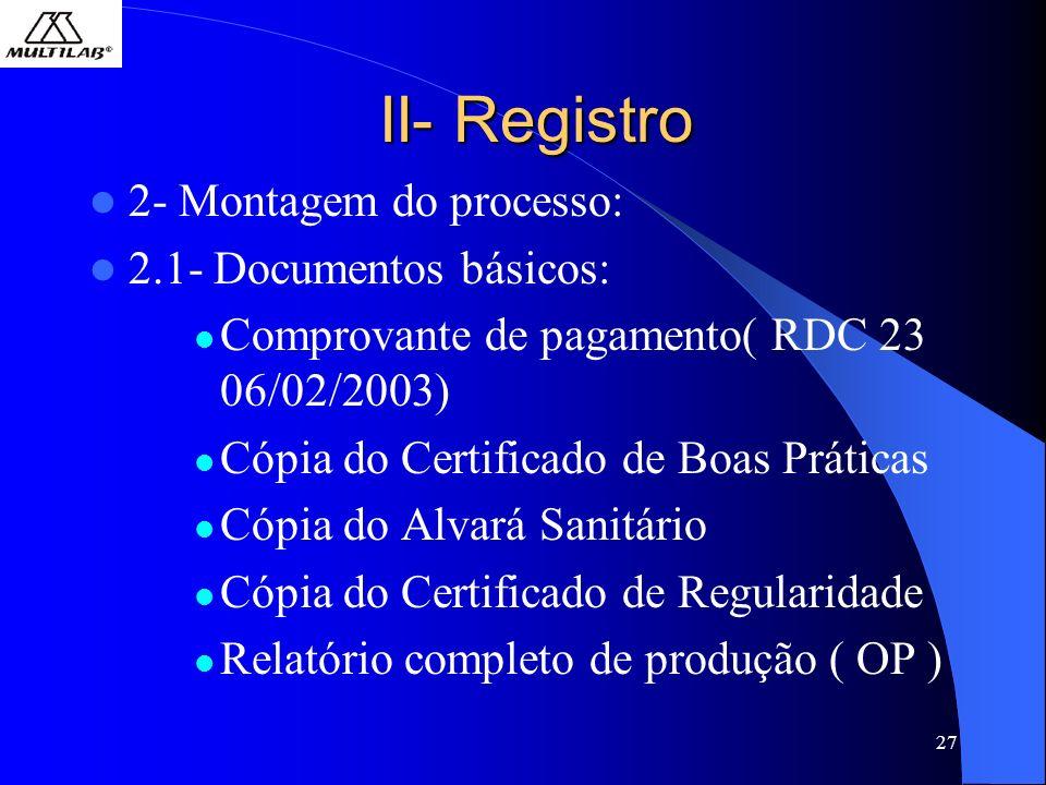 II- Registro 2- Montagem do processo: 2.1- Documentos básicos: