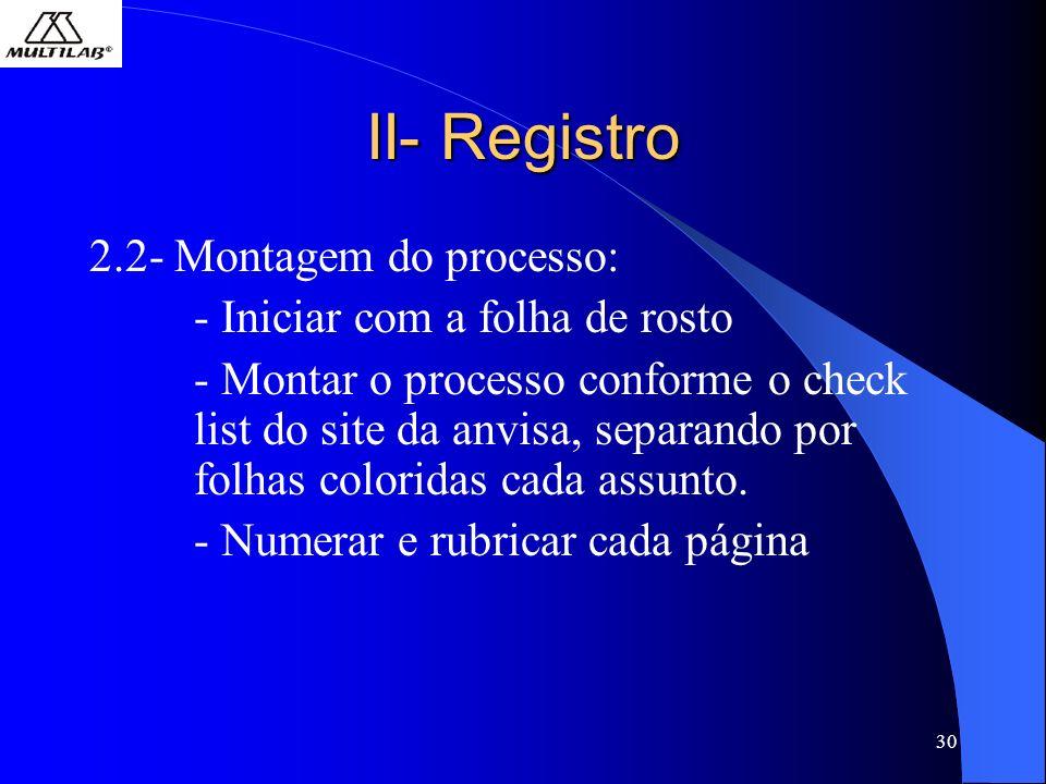 II- Registro 2.2- Montagem do processo: - Iniciar com a folha de rosto