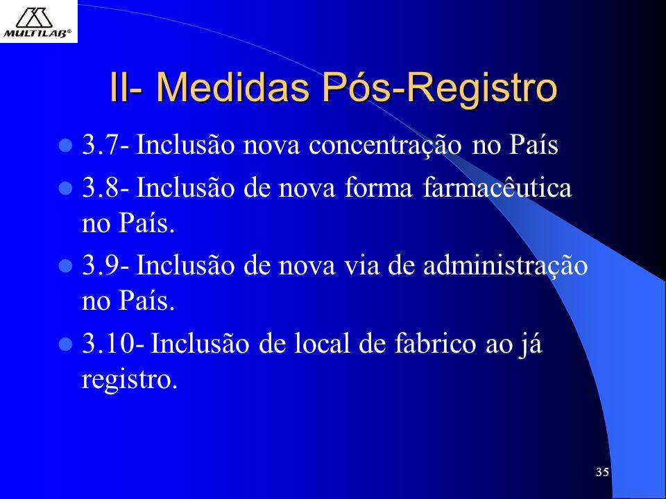 II- Medidas Pós-Registro