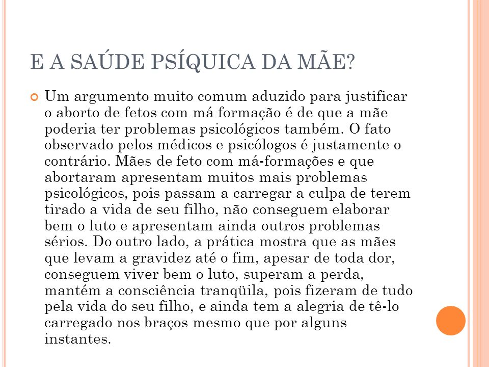 E A SAÚDE PSÍQUICA DA MÃE