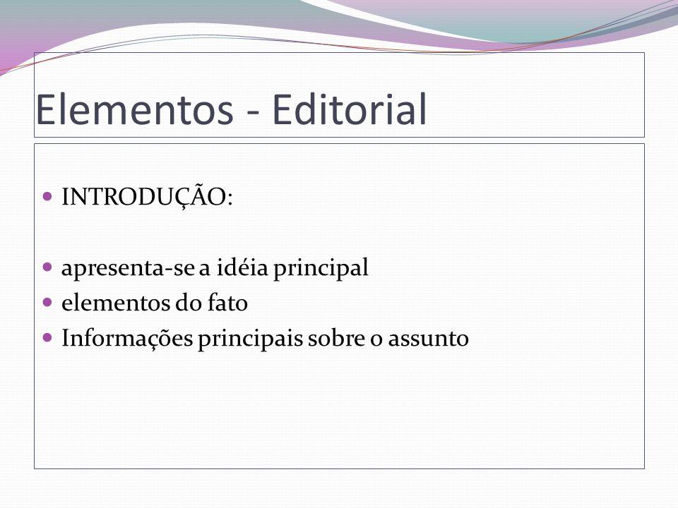 Elementos - Editorial INTRODUÇÃO: apresenta-se a idéia principal
