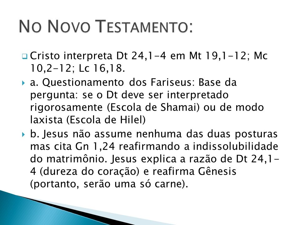 No Novo Testamento: Cristo interpreta Dt 24,1-4 em Mt 19,1-12; Mc 10,2-12; Lc 16,18.