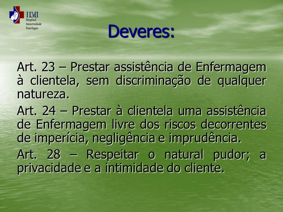 Deveres: Art. 23 – Prestar assistência de Enfermagem à clientela, sem discriminação de qualquer natureza.