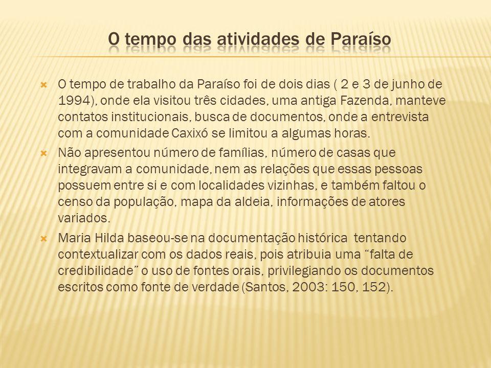 O tempo das atividades de Paraíso