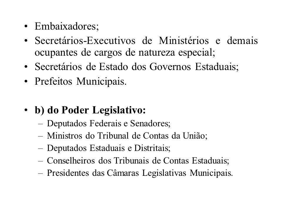 Secretários de Estado dos Governos Estaduais; Prefeitos Municipais.