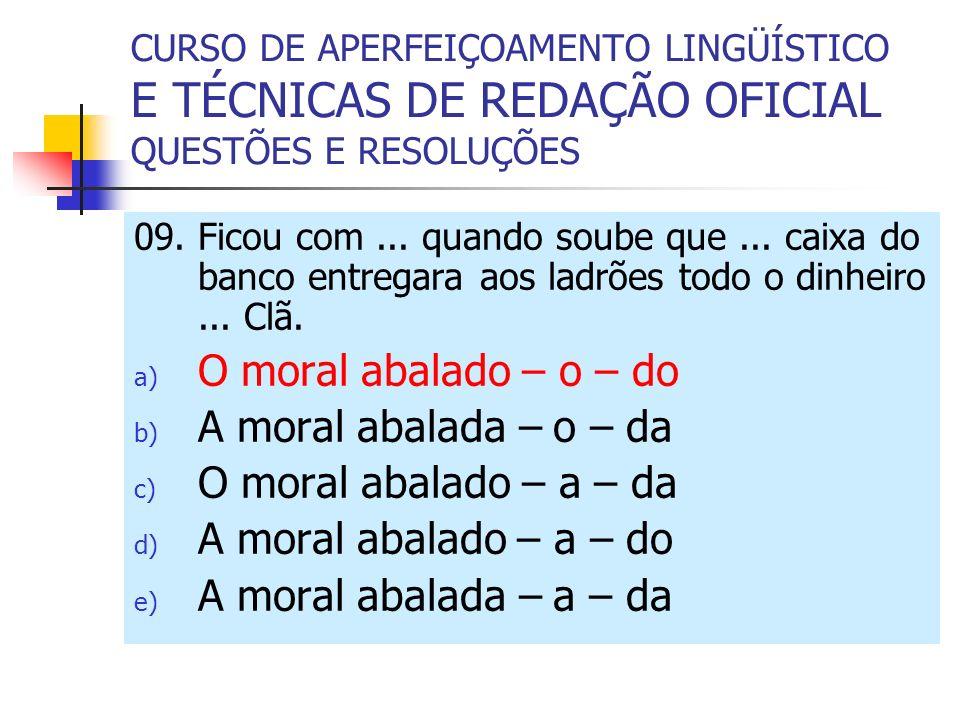 O moral abalado – o – do A moral abalada – o – da