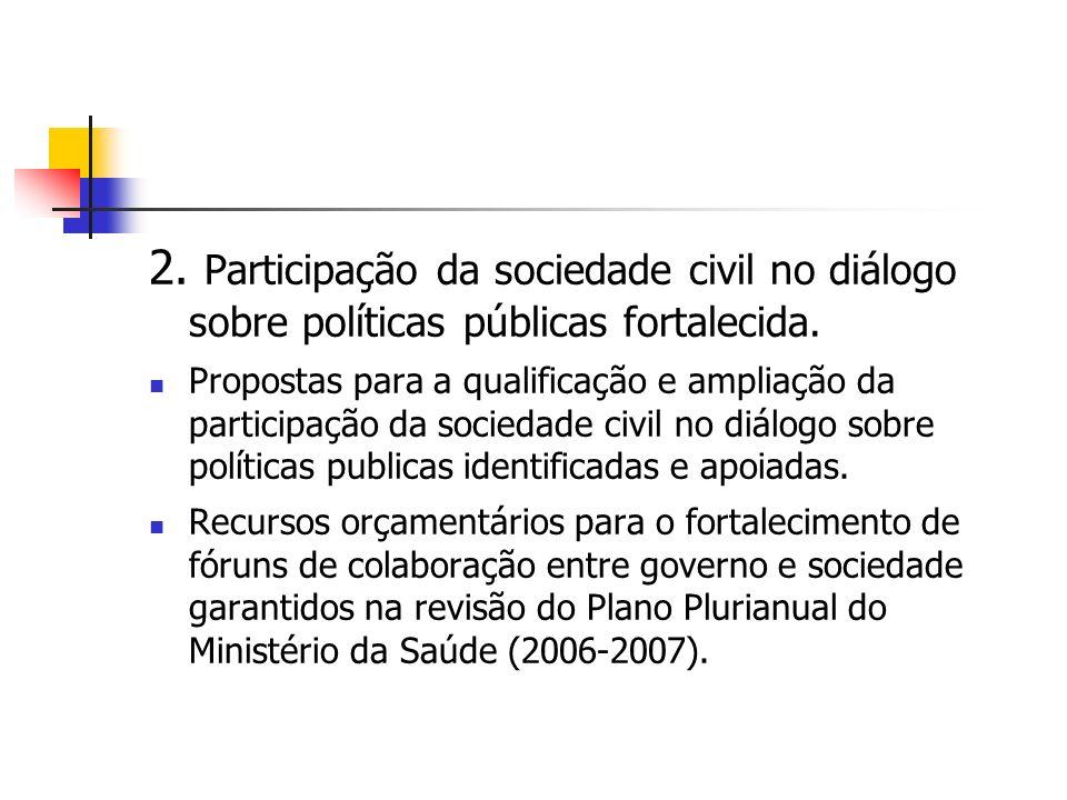 2. Participação da sociedade civil no diálogo sobre políticas públicas fortalecida.