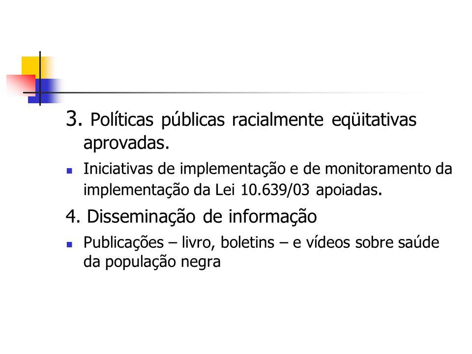 3. Políticas públicas racialmente eqüitativas aprovadas.