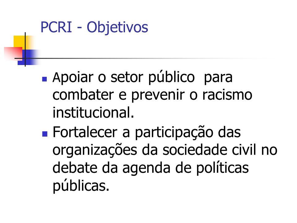PCRI - Objetivos Apoiar o setor público para combater e prevenir o racismo institucional.