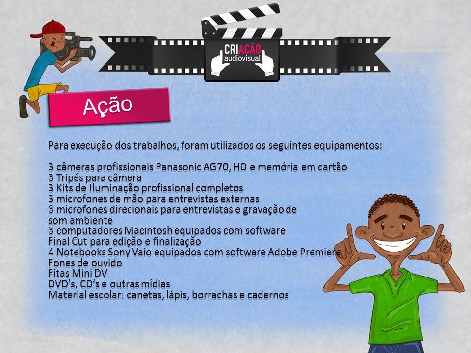 Ação Para execução dos trabalhos, foram utilizados os seguintes equipamentos: 3 câmeras profissionais Panasonic AG70, HD e memória em cartão.