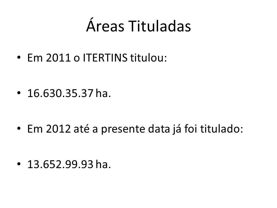 Áreas Tituladas Em 2011 o ITERTINS titulou: 16.630.35.37 ha.