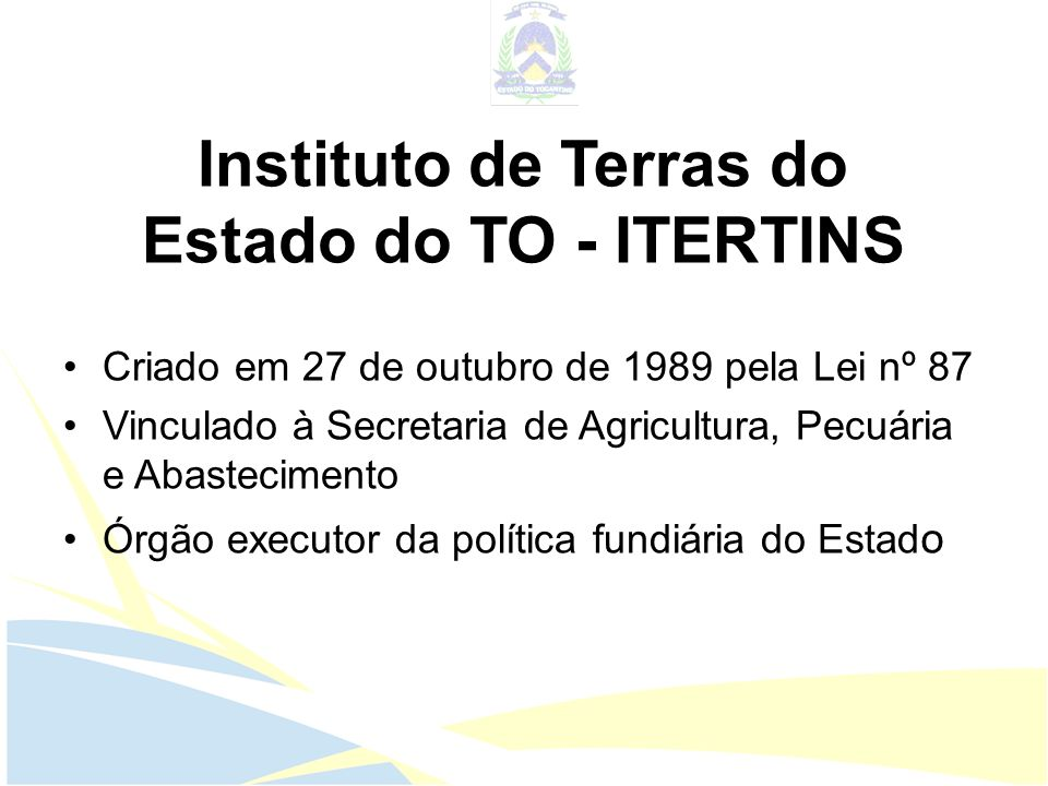 Instituto de Terras do Estado do TO - ITERTINS