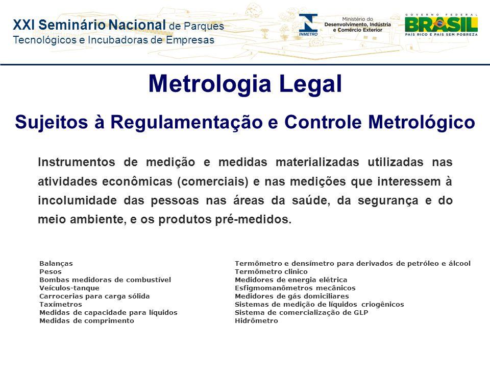 Sujeitos à Regulamentação e Controle Metrológico
