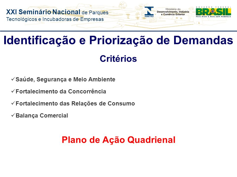 Identificação e Priorização de Demandas Plano de Ação Quadrienal