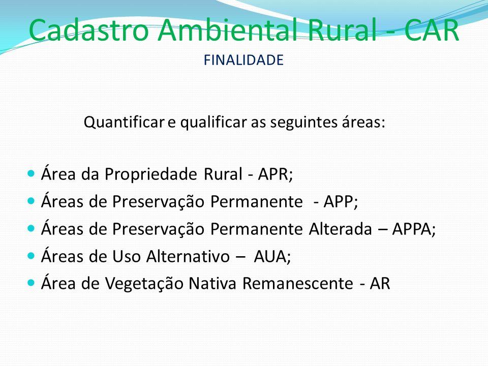 Cadastro Ambiental Rural - CAR FINALIDADE
