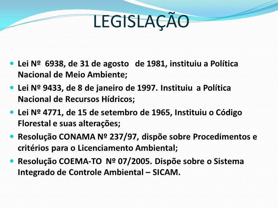 LEGISLAÇÃO Lei Nº 6938, de 31 de agosto de 1981, instituiu a Política Nacional de Meio Ambiente;