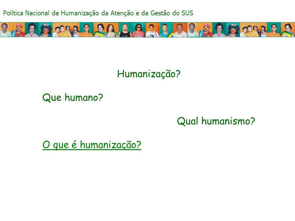 Humanização Que humano Qual humanismo O que é humanização