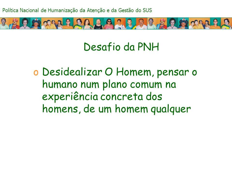 Desafio da PNH Desidealizar O Homem, pensar o humano num plano comum na experiência concreta dos homens, de um homem qualquer.