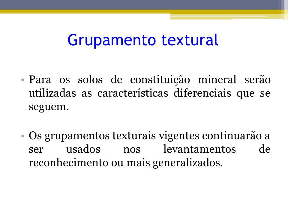 Grupamento textural Para os solos de constituição mineral serão utilizadas as características diferenciais que se seguem.