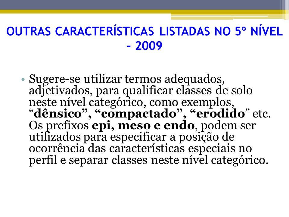 OUTRAS CARACTERÍSTICAS LISTADAS NO 5º NÍVEL - 2009
