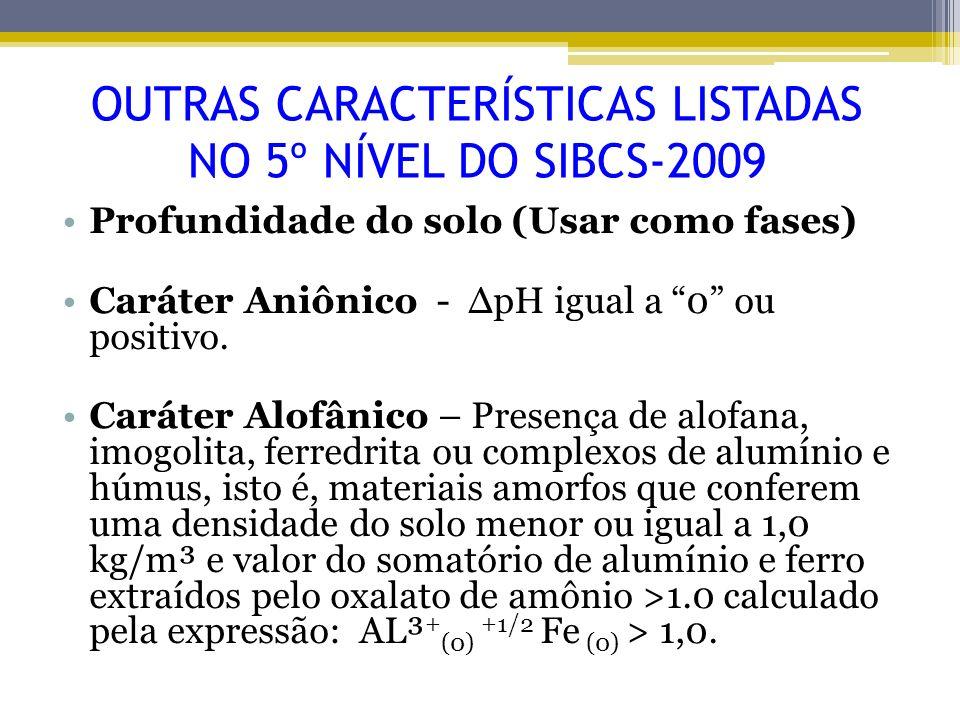 OUTRAS CARACTERÍSTICAS LISTADAS NO 5º NÍVEL DO SIBCS-2009