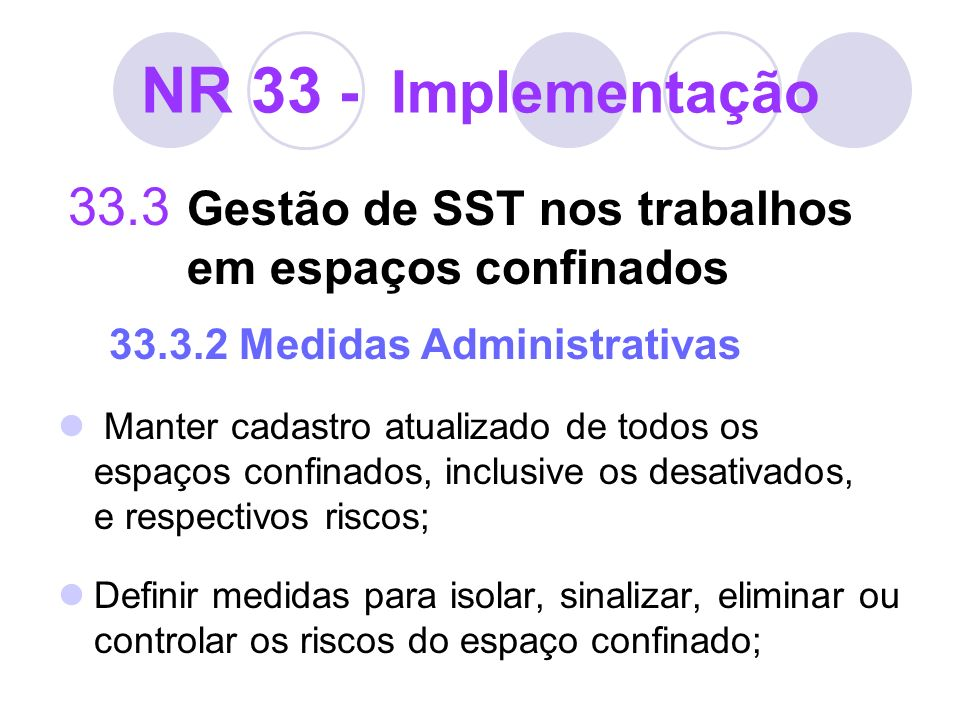 NR 33 - Implementação33.3 Gestão de SST nos trabalhos em espaços confinados 33.3.2 Medidas Administrativas.
