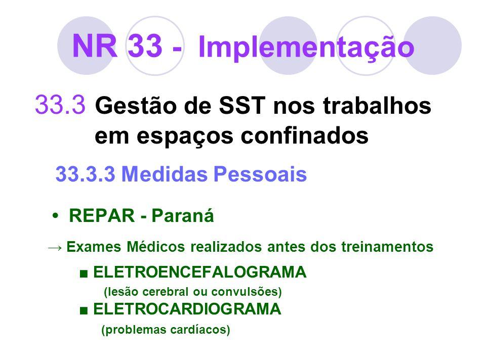 NR 33 - Implementação33.3 Gestão de SST nos trabalhos em espaços confinados 33.3.3 Medidas Pessoais.