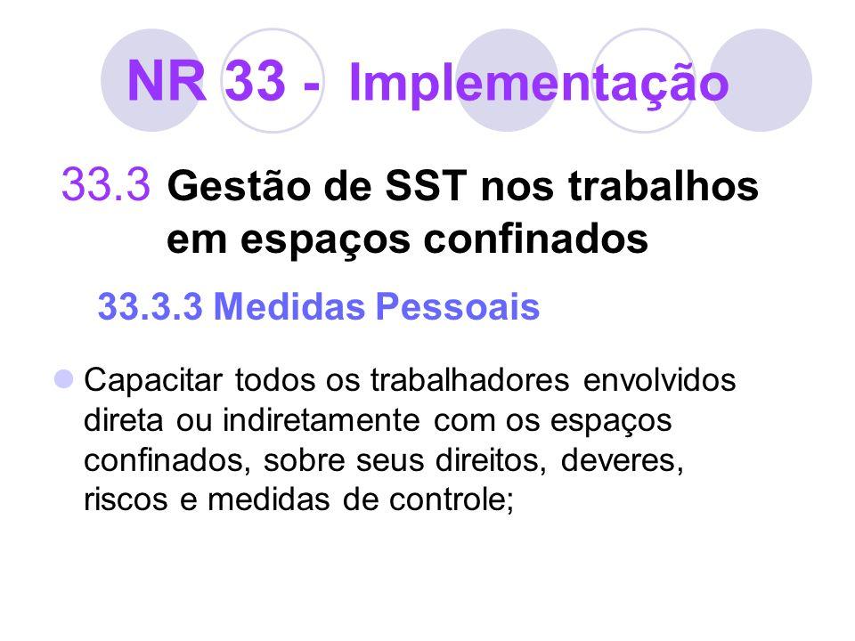 NR 33 - Implementação 33.3 Gestão de SST nos trabalhos em espaços confinados 33.3.3 Medidas Pessoais.