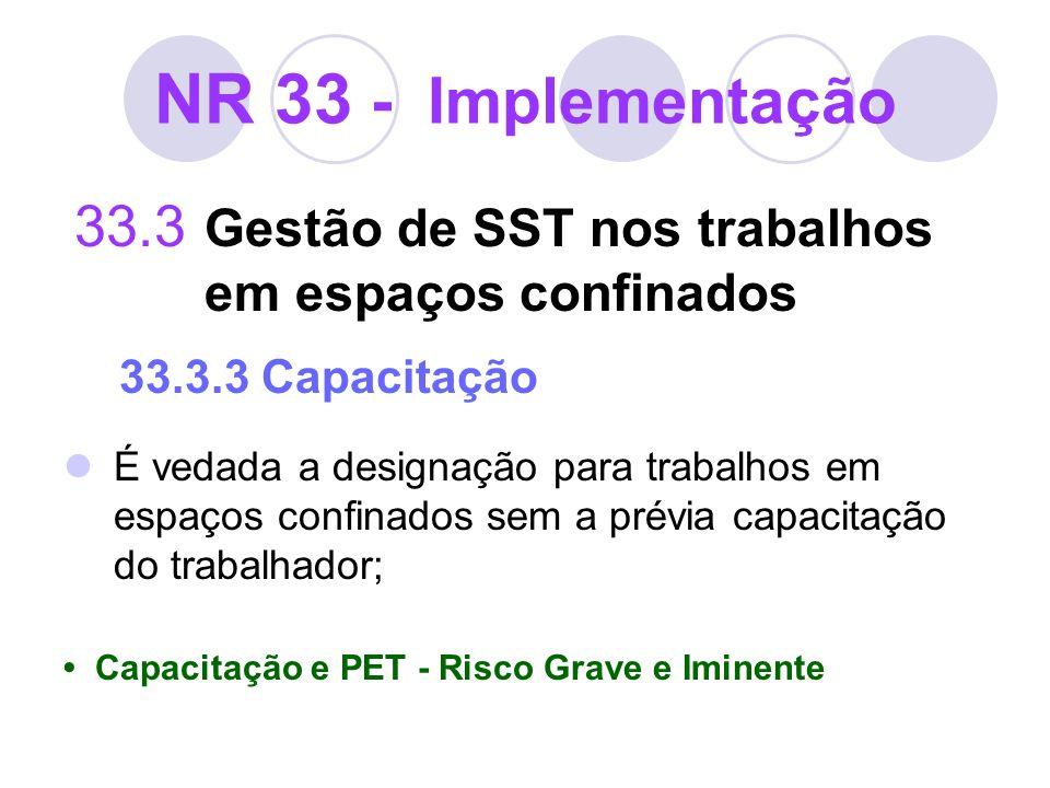 NR 33 - Implementação33.3 Gestão de SST nos trabalhos em espaços confinados 33.3.3 Capacitação.