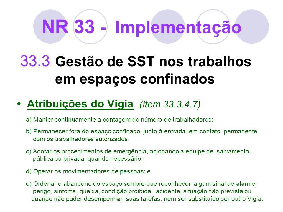 NR 33 - Implementação 33.3 Gestão de SST nos trabalhos em espaços confinados. • Atribuições do Vigia (item 33.3.4.7)