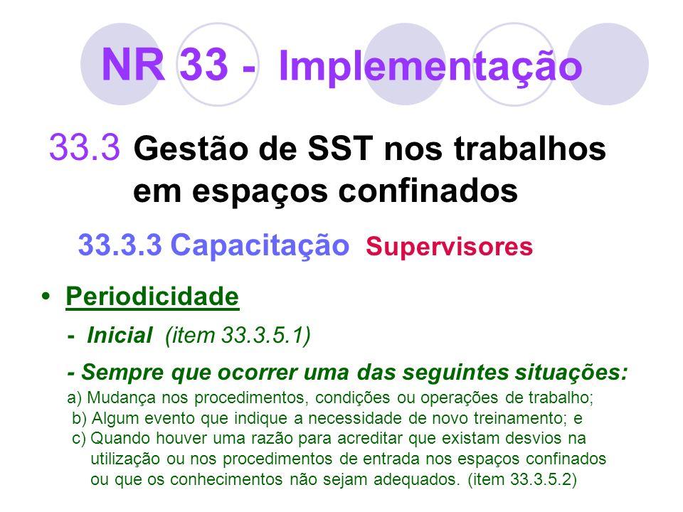 NR 33 - Implementação 33.3 Gestão de SST nos trabalhos em espaços confinados 33.3.3 Capacitação Supervisores.