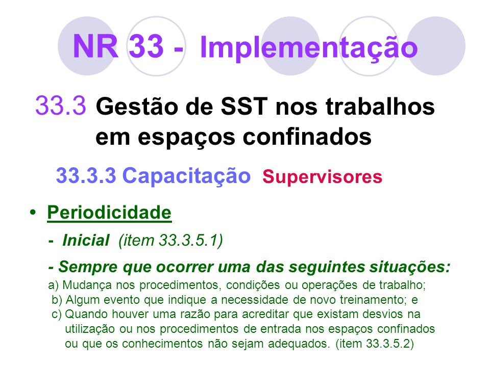 NR 33 - Implementação33.3 Gestão de SST nos trabalhos em espaços confinados 33.3.3 Capacitação Supervisores.