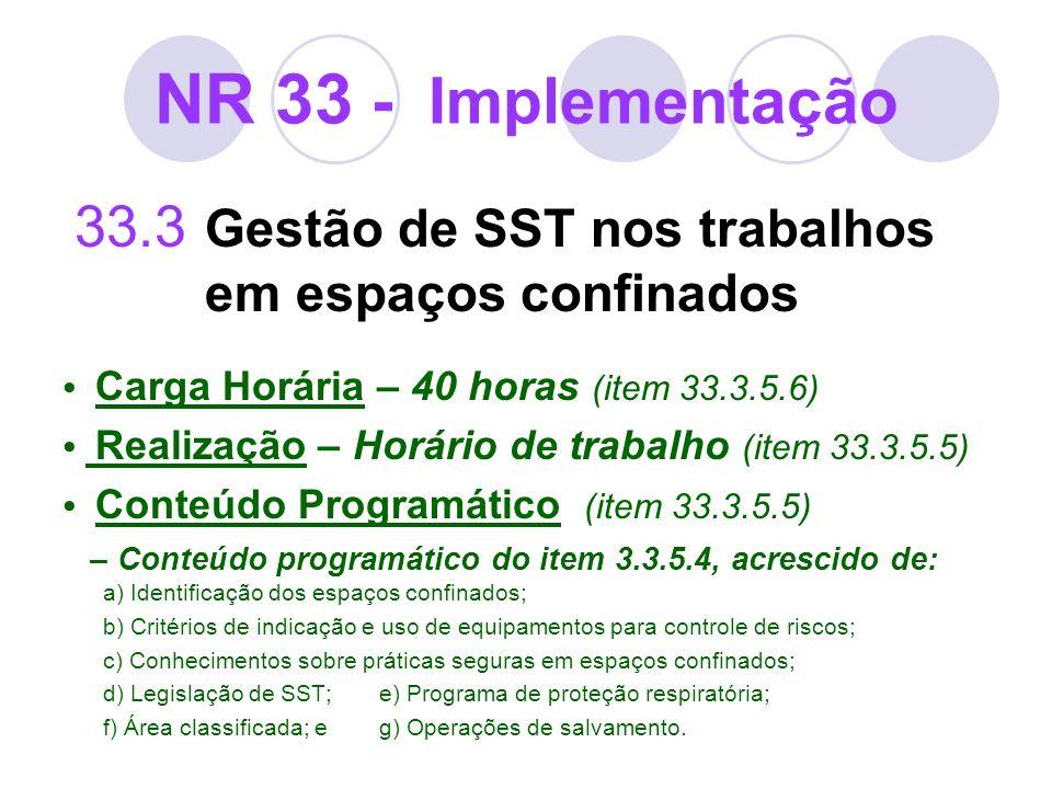 NR 33 - Implementação33.3 Gestão de SST nos trabalhos em espaços confinados. • Carga Horária – 40 horas (item 33.3.5.6)