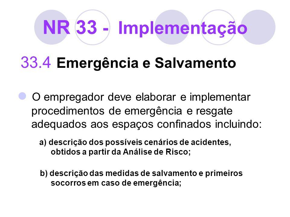 NR 33 - Implementação 33.4 Emergência e Salvamento.