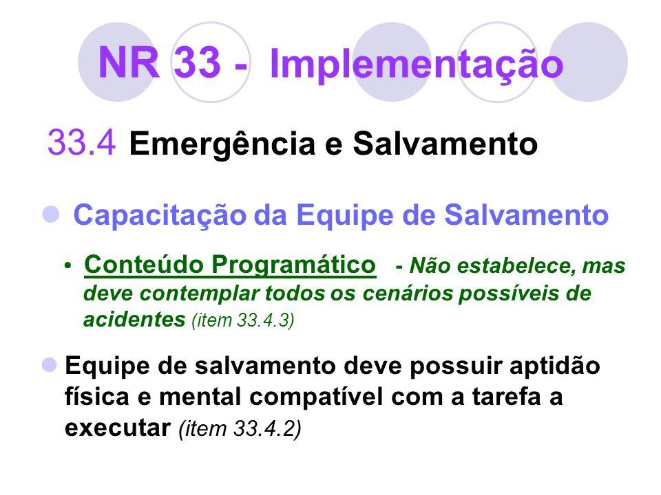 NR 33 - Implementação Capacitação da Equipe de Salvamento
