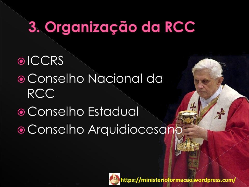 3. Organização da RCC ICCRS Conselho Nacional da RCC Conselho Estadual