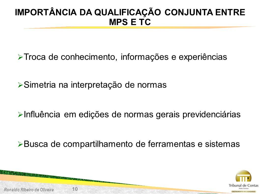 IMPORTÂNCIA DA QUALIFICAÇÃO CONJUNTA ENTRE MPS E TC