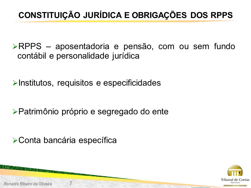 CONSTITUIÇÃO JURÍDICA E OBRIGAÇÕES DOS RPPS
