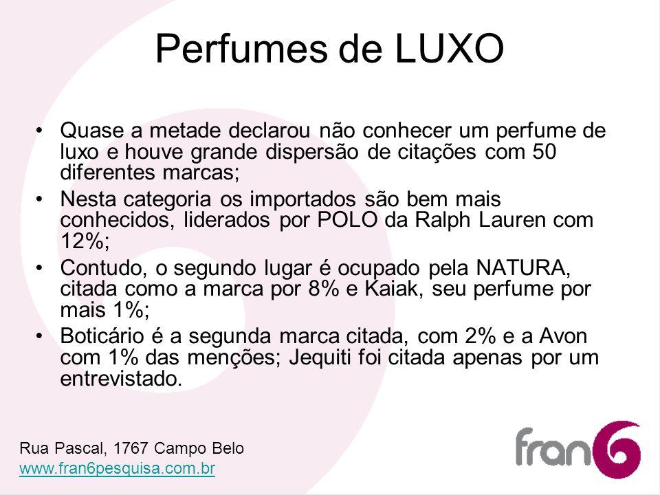 Perfumes de LUXO Quase a metade declarou não conhecer um perfume de luxo e houve grande dispersão de citações com 50 diferentes marcas;