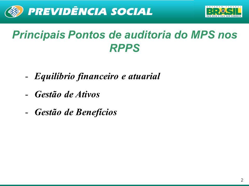 Principais Pontos de auditoria do MPS nos RPPS