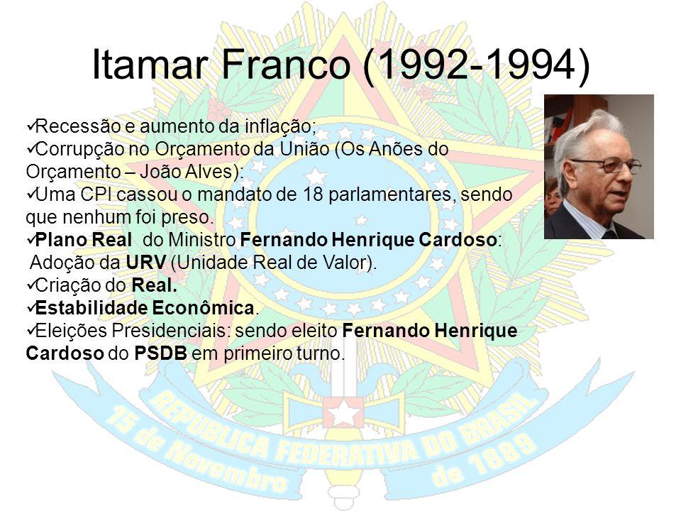 Itamar Franco (1992-1994) Recessão e aumento da inflação;
