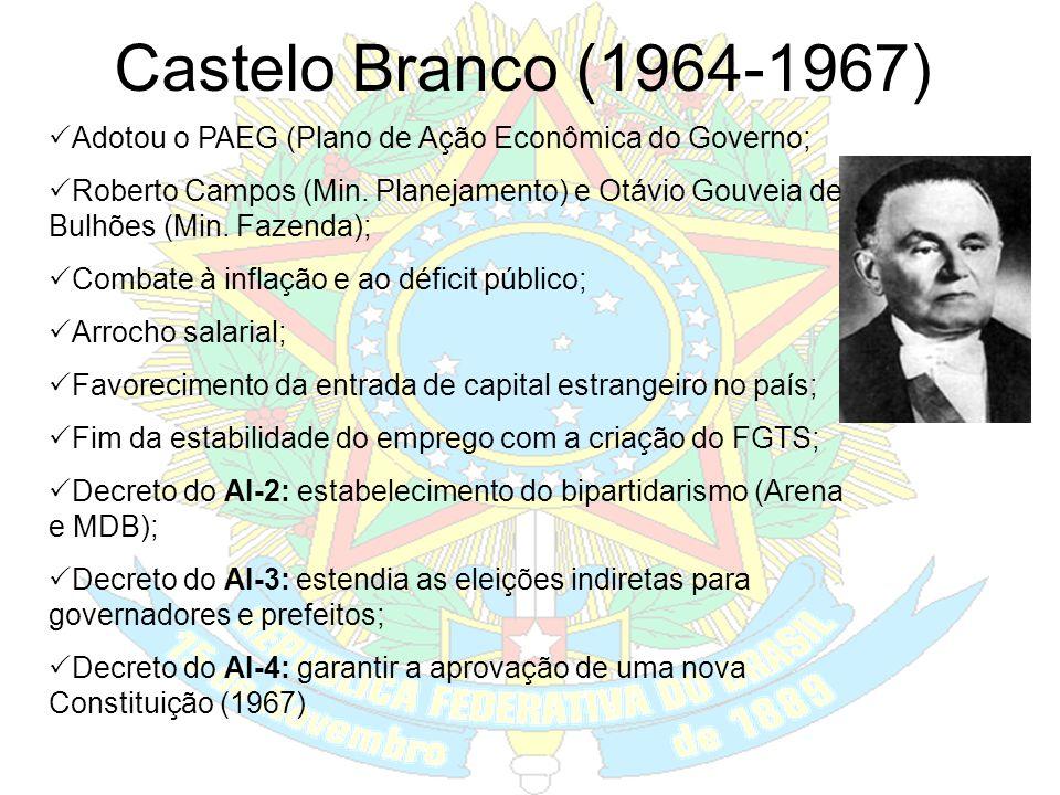 Castelo Branco (1964-1967) Adotou o PAEG (Plano de Ação Econômica do Governo;