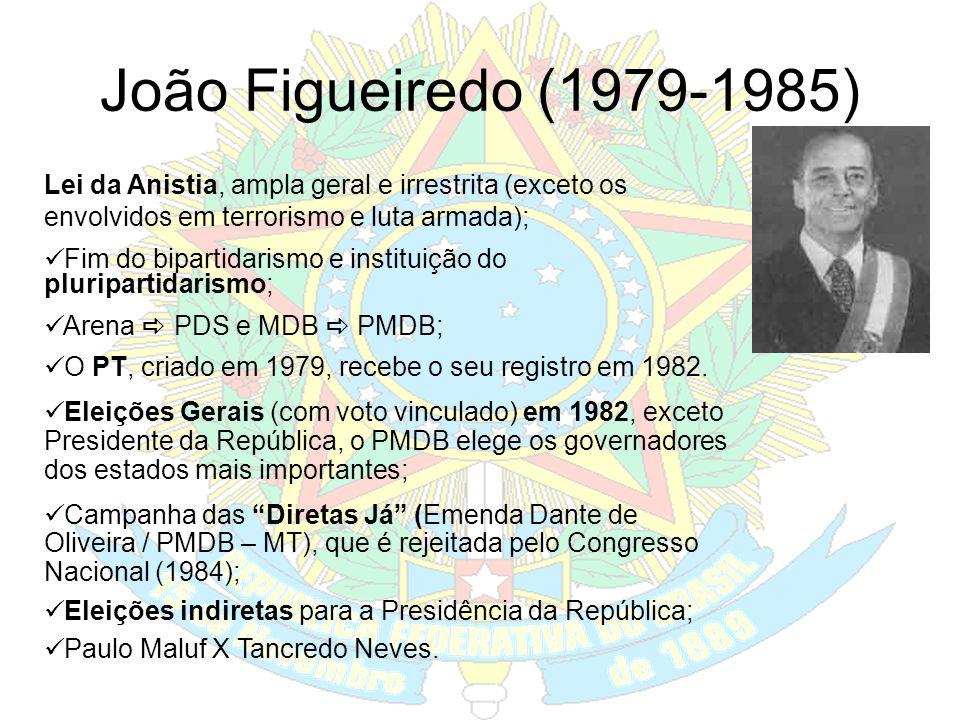 João Figueiredo (1979-1985) Lei da Anistia, ampla geral e irrestrita (exceto os envolvidos em terrorismo e luta armada);