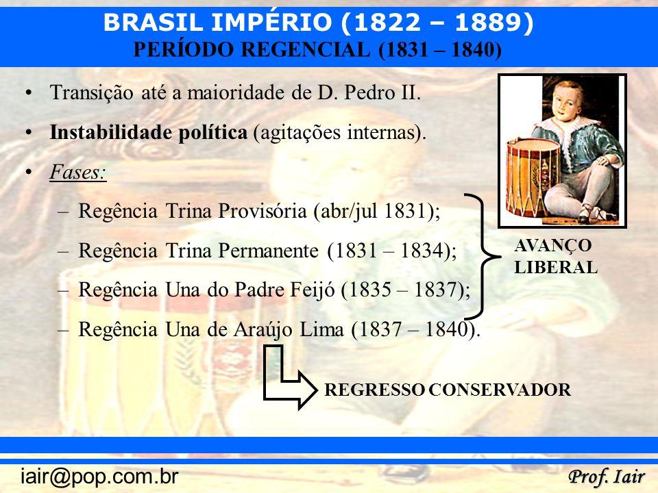 Transição até a maioridade de D. Pedro II.