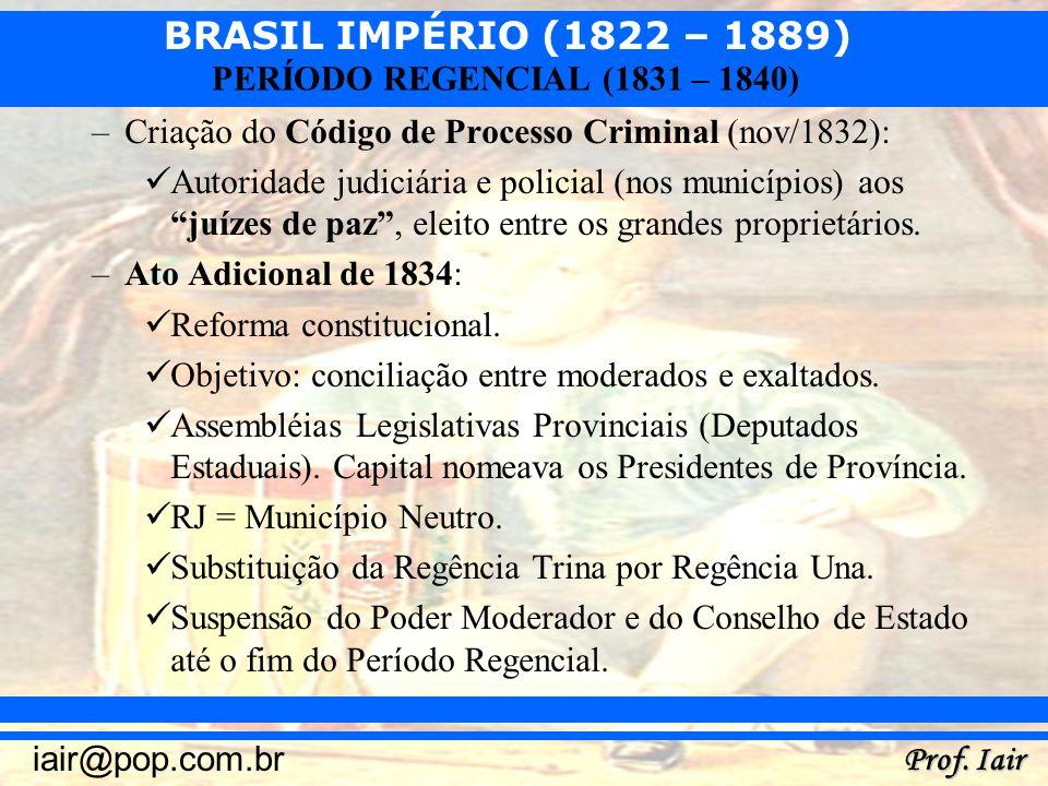 Criação do Código de Processo Criminal (nov/1832):