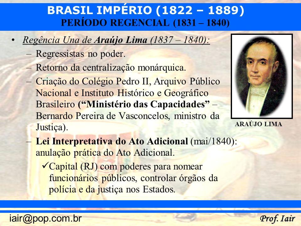 Regência Una de Araújo Lima (1837 – 1840): Regressistas no poder.