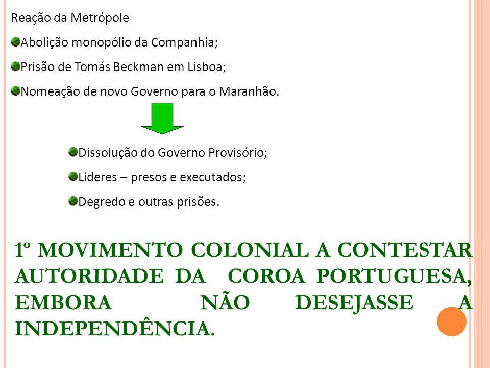 Reação da Metrópole Abolição monopólio da Companhia; Prisão de Tomás Beckman em Lisboa; Nomeação de novo Governo para o Maranhão.
