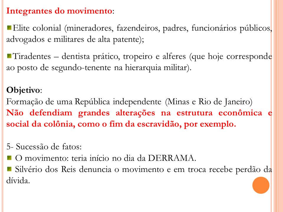 Integrantes do movimento: