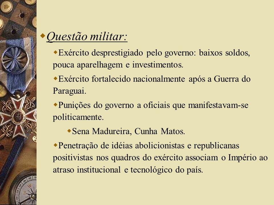 Questão militar: Exército desprestigiado pelo governo: baixos soldos, pouca aparelhagem e investimentos.