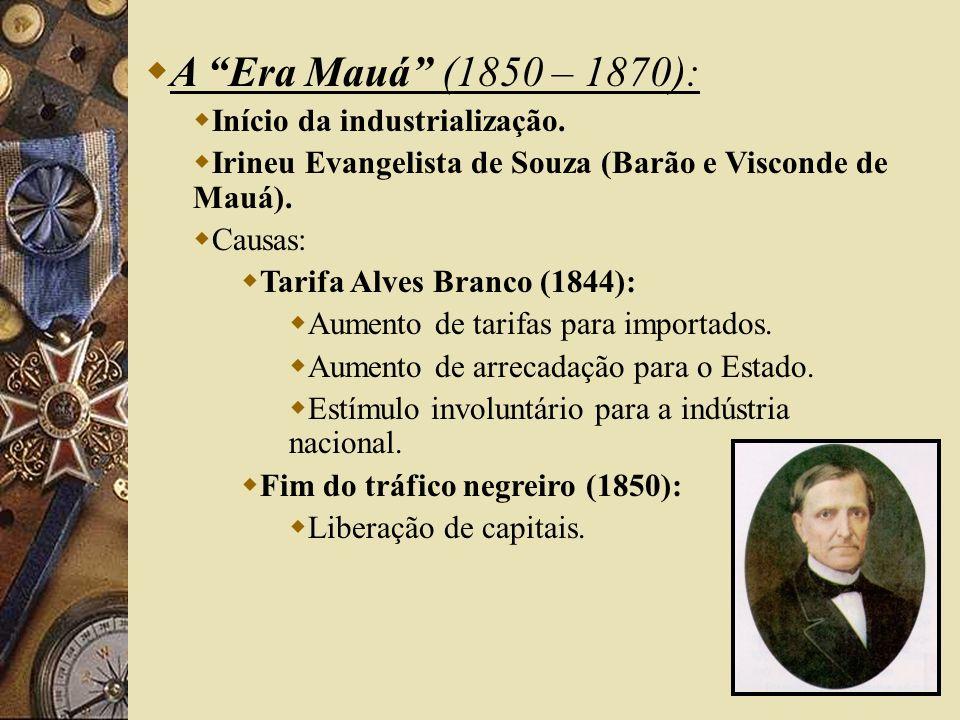 A Era Mauá (1850 – 1870): Início da industrialização.